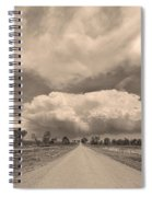 Colorado Country Road Sepia Stormin Skies Spiral Notebook