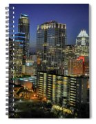 Colorful Austin Skyline At Night Spiral Notebook