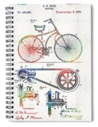 Colorful Bike Art - Vintage Patent - By Sharon Cummings Spiral Notebook