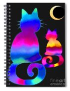 Colorful Cats And The Moon Spiral Notebook