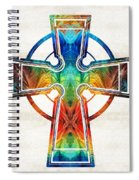 Colorful Celtic Cross By Sharon Cummings Spiral Notebook