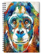 Colorful Chimp Art - Monkey Business - By Sharon Cummings Spiral Notebook