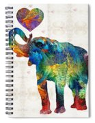 Colorful Elephant Art - Elovephant - By Sharon Cummings Spiral Notebook