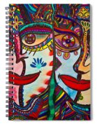 Colorful Faces Gazing - Ink Abstract Faces Spiral Notebook