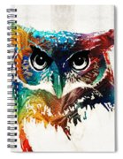 Colorful Owl Art - Wise Guy - By Sharon Cummings Spiral Notebook