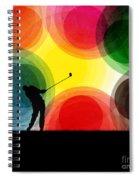 Colorful Retro Silhouette Golfer Spiral Notebook