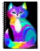 Colorful Striped Rainbow Cat Spiral Notebook
