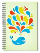 Colorful Swirls Happy Cartoon Whale Spiral Notebook