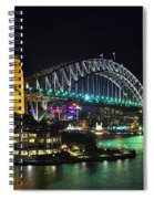 Colorful Sydney Harbour Bridge By Night 3 Spiral Notebook
