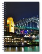Colorful Sydney Harbour Bridge By Night Spiral Notebook