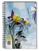 Columbine Blossom With Suminagashi Ink Spiral Notebook
