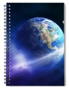 Comet Moving Passing Planet Earth Spiral Notebook