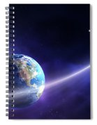 Comet Moving Past Planet Earth Spiral Notebook