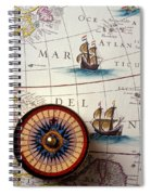 Compass And Old Map With Ships Spiral Notebook