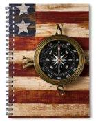 Compass On Wooden Folk Art Flag Spiral Notebook