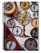 Compasses And Globe Illustration Spiral Notebook