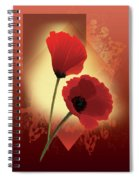 Contemporary Wild Poppies Spiral Notebook