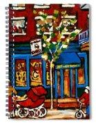 Conversation At St Viateur Bagel Paintings Mehadrin Kosher Deli Authentic Vintage Montreal Cspandau Spiral Notebook
