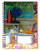 Cooking In The Marketplace In Tachilek-burma Spiral Notebook