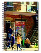 Corner Laurier Marche Maboule Depanneur Summer Stroll With Baby Carriage Montreal Street Scene Spiral Notebook