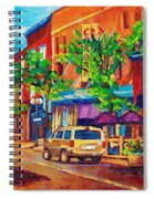Corona Theatre Presents The Burgundy Lion Rue Notre Dame Montreal Street Scene By Carole Spandau Spiral Notebook