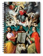 Coronation Of The Virgin With Saints Luke Dominic And John The Evangelist Spiral Notebook