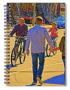 Couples Summer In The City Walking Biking Strolling With Baby Carriage Art Of Montreal Street Scene Spiral Notebook