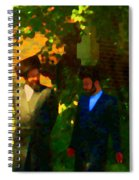 Covenant Conversation Two Men Of God Hasidic Community Montreal City Scene Rabbinical Art Carole Spa Spiral Notebook
