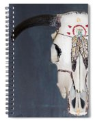 Cow Skull In Blue Spiral Notebook