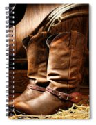 Cowboy Boots In  A Ranch Barn Spiral Notebook