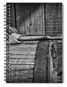 Cowboy Themed Wood Barrel And Spur In Black And White Spiral Notebook