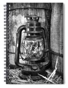 Cowboy Themed Wood Barrels And Lantern In Black And White Spiral Notebook