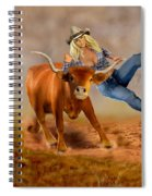 Cowgirl Steer Wrestling Spiral Notebook