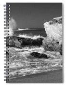 Crashing Waves Bw Spiral Notebook