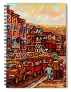 Crescent Street Family Stroll  Montreal City In Autumn City Scene Paintings Carole Spandau Spiral Notebook