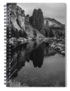 Crooked River Reflection Bw Spiral Notebook