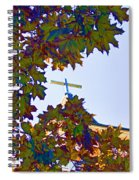 Cross Framed By Leaves Spiral Notebook