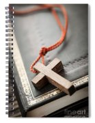 Cross On Bible Spiral Notebook