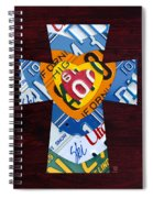 Cross With Heart Rustic License Plate Art On Dark Red Wood Spiral Notebook