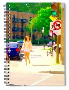 Crossing Notre Dame At Charlevoix To Dilallo Burger Montreal Summer City Scene Carole Spandau Spiral Notebook
