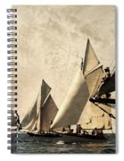A Vintage Processed Image Of A Sail Race In Port Mahon Menorca - Crowded Sea Spiral Notebook