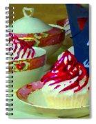 Cupcakes And Tea Je Suis Au Jardin Coffee Shop City Scene Cafe Montreal Food  Art Carole Spandau Spiral Notebook