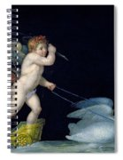 Cupid Being Led By A Pair Of Swans Spiral Notebook