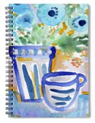 Cups And Flowers-  Watercolor Floral Painting Spiral Notebook