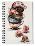 Cups And Strawberries Spiral Notebook