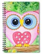 Cute As A Button Owl Spiral Notebook