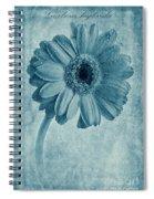 Cyanotype Gerbera Hybrida With Textures Spiral Notebook