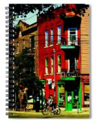 Cyclists Crossing Rue Clark Corner Wilensky Spring Street Scene Montreal Art Carole Spandau Spiral Notebook