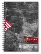 Cyrus K. Holliday Rail Car And Usa Flag Bwsc Spiral Notebook