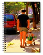 Daddy's Little Buddy Perfect Day Wagon Ride Montreal Neighborhood City Scene Art Carole Spandau Spiral Notebook